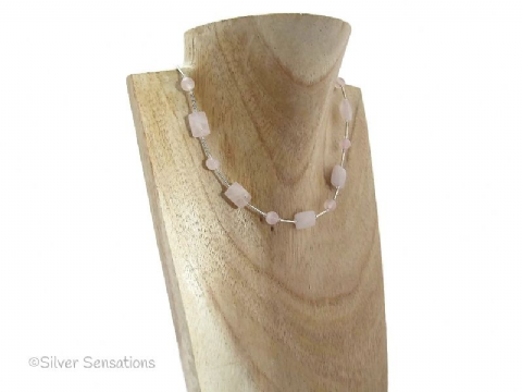 Baby Pink Rose Quartz Faceted Oblongs & Sterling Silver Necklace